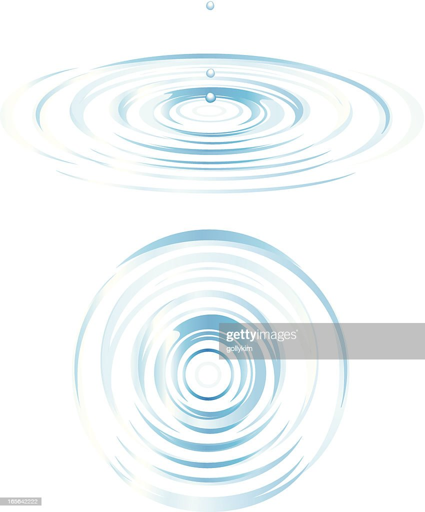 Top and Side View of Ripples : Vector Art