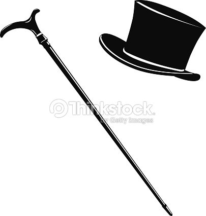 Cappello A Cilindro Silhouette E Bastone Icona Arte vettoriale ... 152ba3826981