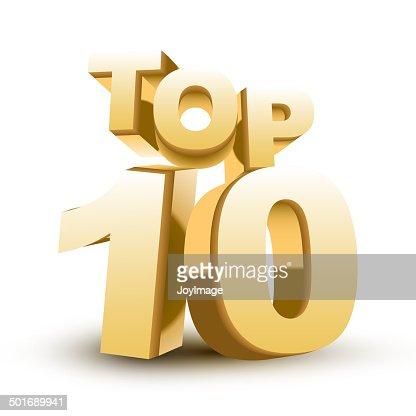 Top ten golden word : stock vector