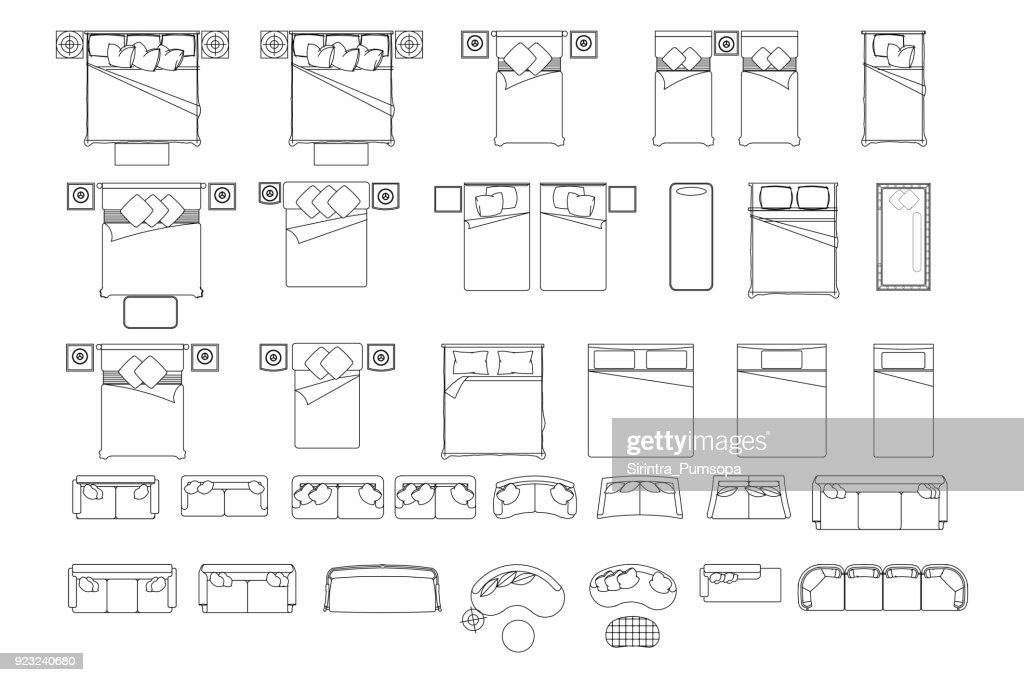 Top View Of Set Furniture Elements Outline Symbol For Bedroom And Living  Room. Interior Icon
