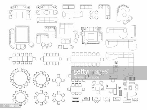 Top View Of Set Furniture Elements Outline Symbol For Dining Room