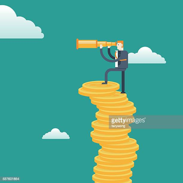 Top view-Businessman with spyglass on Stacks of gold coins