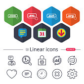 Calendar, Speech bubble and Download signs. Top-level internet domain icons. Com, Eu, Net and Org symbols with hand pointer. Unique DNS names. Chat, Report graph line icons. More linear signs. Vector