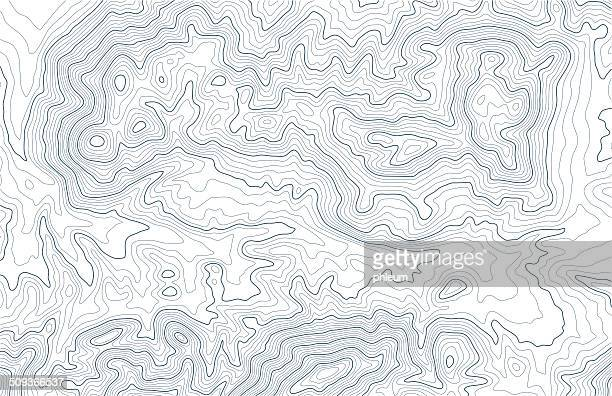 Topographic contour lines in mountainous terrain