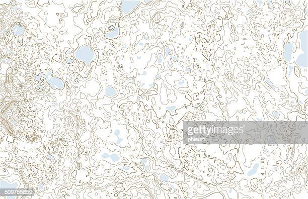 Topographic contours with lakes