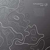 Topographic line map. Abstract topographic map concept with copy space. Vector background.