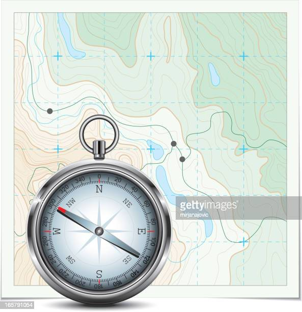 Topographic map and compass