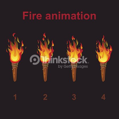 Torch Fire Animation Sprites Flame Video Frames Vector Art | Thinkstock