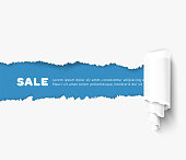 White torn paper with a paper roll over blue background with space for text. Realistic vector torn damaged paper with ripped edges. Torn paper template. Paper roll.