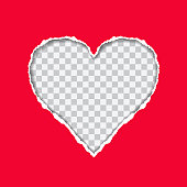 Torn red paper with a heart-shaped on transparent background, suitable as a greeting card - vector