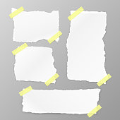 Torn Square paper set on the white background. Vector illustration