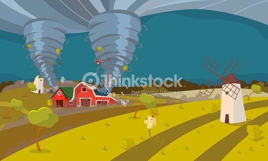 Tornado Destroying Farm Hurricane Landscape