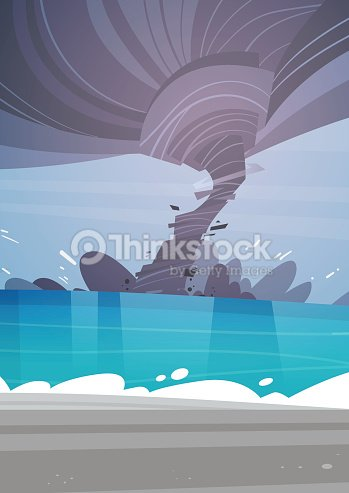 Tornado Incoming From Sea Hurricane In Ocean Beach Landscape Of Storm Waterspout Twister Natural Disaster Concept