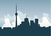 Skyline of financial district in Toronto, Canada.