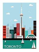 Toronto city Canada in bright colors