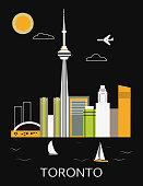 Toronto city in Canada on black background. Vector illustration
