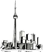 Toronto CN Tower Vector Cartoon Clipart Design Illustration created in Adobe Illustrator in EPS format for use in web and print layouts and projects.