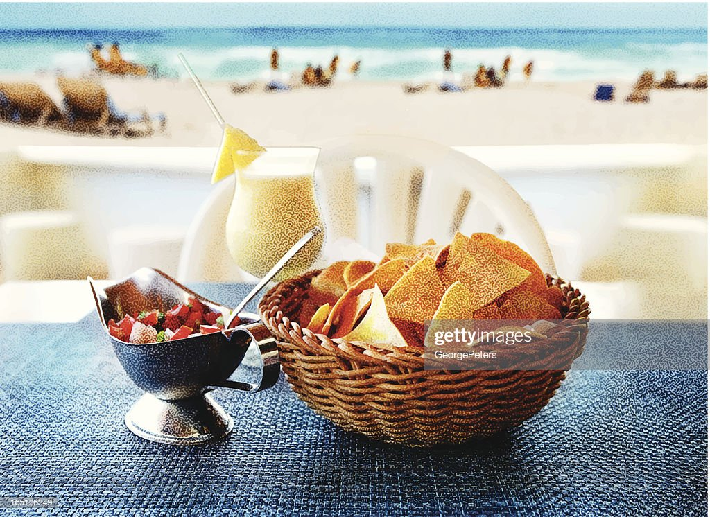 Tortilla Chips, Salsa and a Pina Colada at The Beach : Vector Art