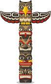 Totem being object symbol animal plant representation family clan tribe, vector illustration cartoon.