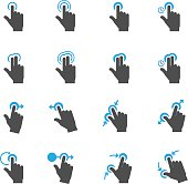 Two tone color Touch Gestures Icons with White Background