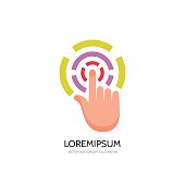 Touch screen finger - vector concept sign illustration. Finger to touch screen. Human hand to touch of surface display. Touch screen technology sign. Touch finger abstract sign. Design element.