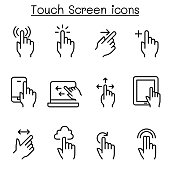 Touch screen icon set in thin line style