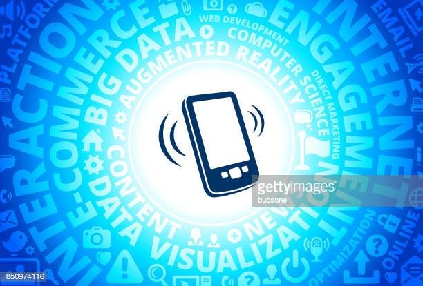 Touchscreen Cell Phone Icon on Internet Modern Technology Words Background