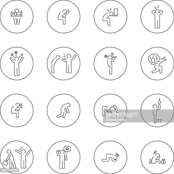 Tough life sad icons set illustration