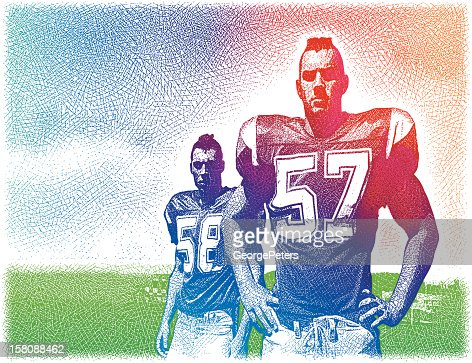 Tough, Macho Football Players : Vector Art