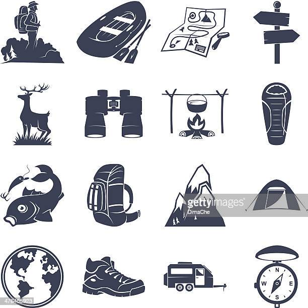 Tourism and camping detailed icons set