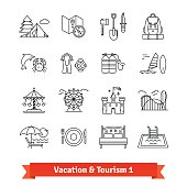 Tourism and vacation recovery. Thin line art icons set. Sport, recreation activities. Linear style symbols isolated on white.