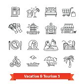Tourism and vacation recovery. Thin line art icons set. Hotels infrastructure, sports, hiking, recreation activities. Linear style symbols isolated on white.