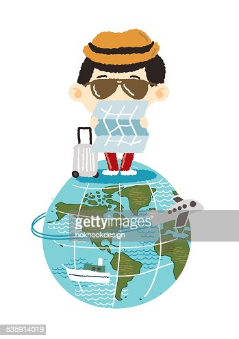 Tourism on earth - freehand drawing vector Illustration : Vector Art
