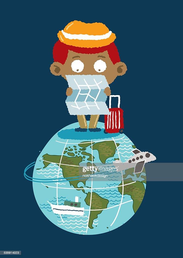 Turismo em terra-Ilustração vetorial desenho à mão livre : Arte vetorial