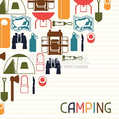 Tourist Background With Camping Equipment In Flat Style Vector Art