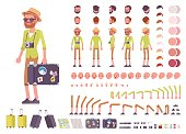 Tourist male, vacation traveller character creation set. Full length, views, emotions, gestures, tanned skin tones, white background. Build your own design. Cartoon flat-style infographic illustration