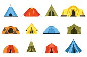 Camping tents vector icon. Triangle and dome flat design tents. Tourist hiking tents isolated on white background. Green, blue, yellow and blue colors. Vector tent pictograms.