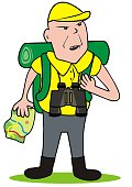 A tourist with binoculars and map. White background. Man with map and bag and telescope. Vector illustration. Single object.