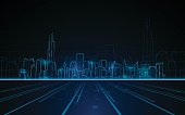 abstract tower cityscape blue light line design tech sci fi concept background eps 10 vector