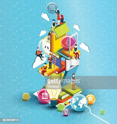 A tower of books with reading people.  Educational concept. Online library. Online education isometric flat design on blue background. Vector illustration : Vector Art