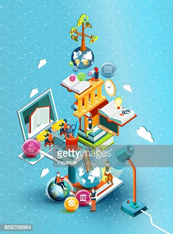 A tower of books with reading people.  Educational concept. Online library. Online education isometric flat design on blue background. Vector illustration : stock vector