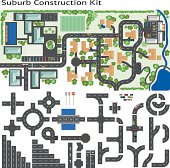 Build your own suburb, grouped and layered, see my portfolio for other kits