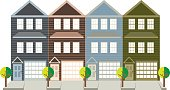 Row of three level townhouse with tandem car parking garage on tree lined street color outline illustration