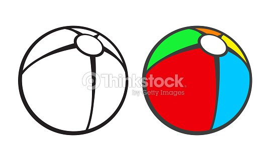 Toy Beach Ball For Coloring Book Isolated On White Vector Art