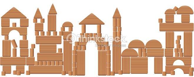 Spielzeugstadt Aus Holzblocken Skyline Von Imaginaren Landschaft Mit