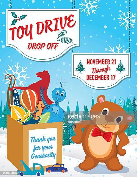 Raccolta di giocattoli di Natale di beneficenza o Poster modello
