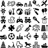 Toy icon collection - vector outline illustration and silhouette