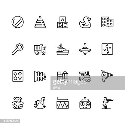 Toys icon set in outline style with editable stroke : stock vector