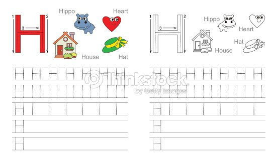 tra age fiche de travail pour la lettre h clipart vectoriel thinkstock. Black Bedroom Furniture Sets. Home Design Ideas