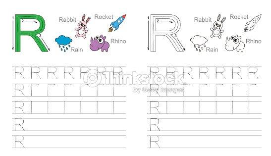 Trazado Hoja De Trabajo Para La Letra R Arte vectorial | Thinkstock